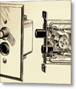 Old Push Button Light Switch Metal Print