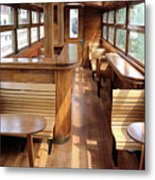 Old Railway Wagon Interior Vintage Metal Print