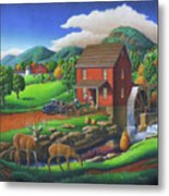 Old Red Appalachian Grist Mill Rural Landscape - Square Format  Metal Print