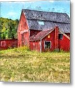 Old Red Barn Abandoned Farm Vermont Metal Print