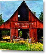 Old Red Barn And Wild Sunflowers Metal Print