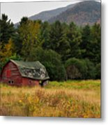 Old Red Barn In The Adirondacks Metal Print by Nancy De Flon