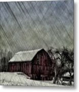 Old Red Barn In Winter Metal Print