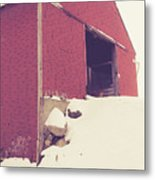 Old Red Barn In Winter Metal Print