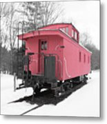 Old Red Caboose Square Metal Print
