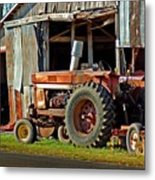 Old Red Tractor And The Barn Metal Print