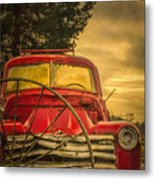 Old Red Truck Metal Print