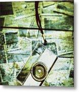 Old Retro Film Camera In Creative Composition Metal Print