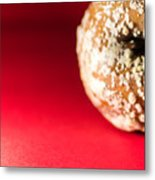 Old Rotting Apple With Fruit-rot On Red Background Metal Print