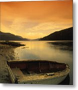 Old Rowboat At Waters Edge With Sunset Metal Print by Don Hammond