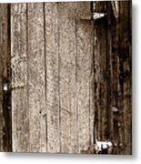 Old Rustic Black And White Barn Woord Door Metal Print