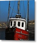 Old Rustic Red Fishing Boat Metal Print