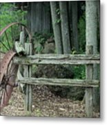 Old Rusty Wagon Wheels And Weathered Fence Metal Print