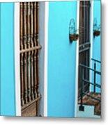 Old San Juan House In Historic Street In Puerto Rico Metal Print