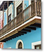 Old San Juan Houses In Historic Street In Puerto Rico Metal Print