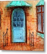 Old Service Station With Blue Door Metal Print