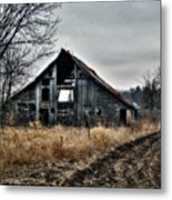 Old Shed Left By Itself Metal Print by Laurie With