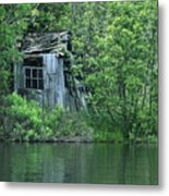 Old Shed On The Lake Metal Print by Marjorie Imbeau