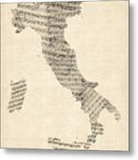 Old Sheet Music Map Of Italy Map Metal Print by Michael Tompsett