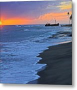 Old Shipwreck At Sunset - St Lucia Metal Print