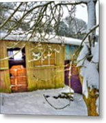 Old Stable - Silent Winter Metal Print