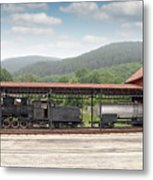 Old Steam Locomotive On Railway Station Metal Print
