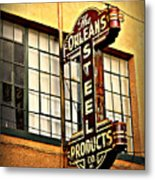 Old Steel Neon Sign Metal Print
