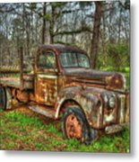 Old Still Art 1947 Ford Stakebed Pickup Truck Ar Metal Print
