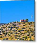 Old Stone Church And Green Energy Plant Metal Print