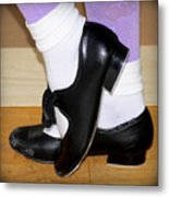 Old Tap Dance Shoes With White Socks And Wooden Floor Metal Print