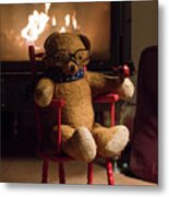 Old Teddy Bear Sitting Front Of The Fireplace In A Cold Night Metal Print