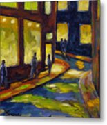 Old Town At Night Metal Print