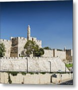 Old Town Citadel Walls Of Jerusalem Israel Metal Print