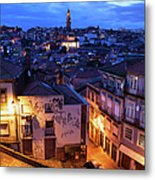 Old Town Of Porto In Portugal At Dusk Metal Print