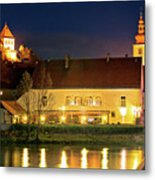 Old Town Of Ptuj Evening Riverfront View Metal Print
