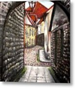 Old Town Oil Paining Metal Print