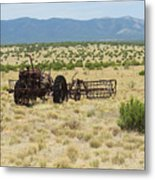 Old Tractor And Rake In New Mexico Metal Print