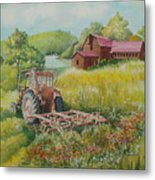 Old Tractor In Hungary Galgaguta Metal Print by Charles Hetenyi