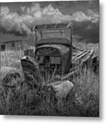 Old Truck Abandoned In The Grass In Black And White At The Ghost Town By Okaton South Dakota Metal Print