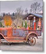 Old Truck And Gas Filling Station Metal Print