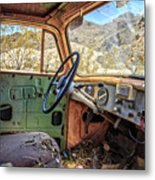 Old Truck Interior Nevada Desert Metal Print
