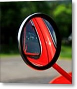 Old Truck Mirror Reflection Metal Print