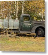 Old Truck With Potato Barrels Metal Print