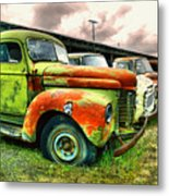 Old Trucks In A Row Metal Print