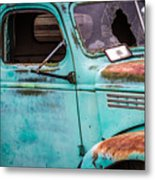 Old Turquoise Truck Metal Print
