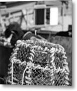 Old Vintage Hand Made Rope Lobster Pot Used In Fishing Industry Metal Print