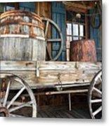 Old Wagon And Barrell Metal Print