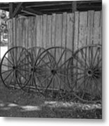 Old Wagon Wheels Black And White Metal Print