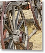 Old Wagon Wheels From Montana Metal Print