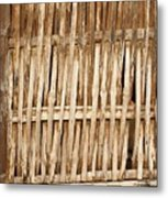 Old Wall Made From Bamboo Slats Metal Print